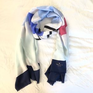 Kate Spade Striped Oblong Silk Scarf